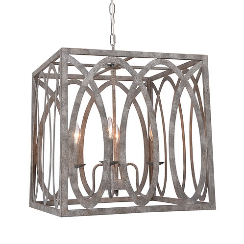 Palma  Cube Chandelier with Washed Gray Finish