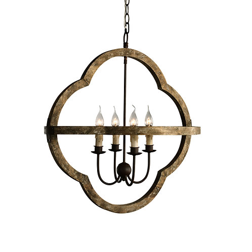 Bolonia Chandelier - Rustic Wood