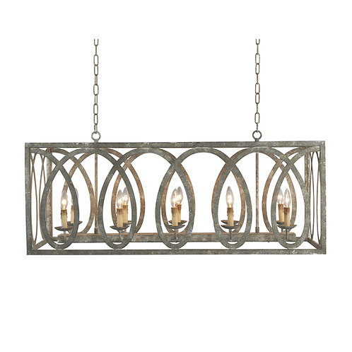 Palma Linear Chandelier with washed gray finish