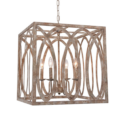 Palma  Cube Chandelier with Washed white finish