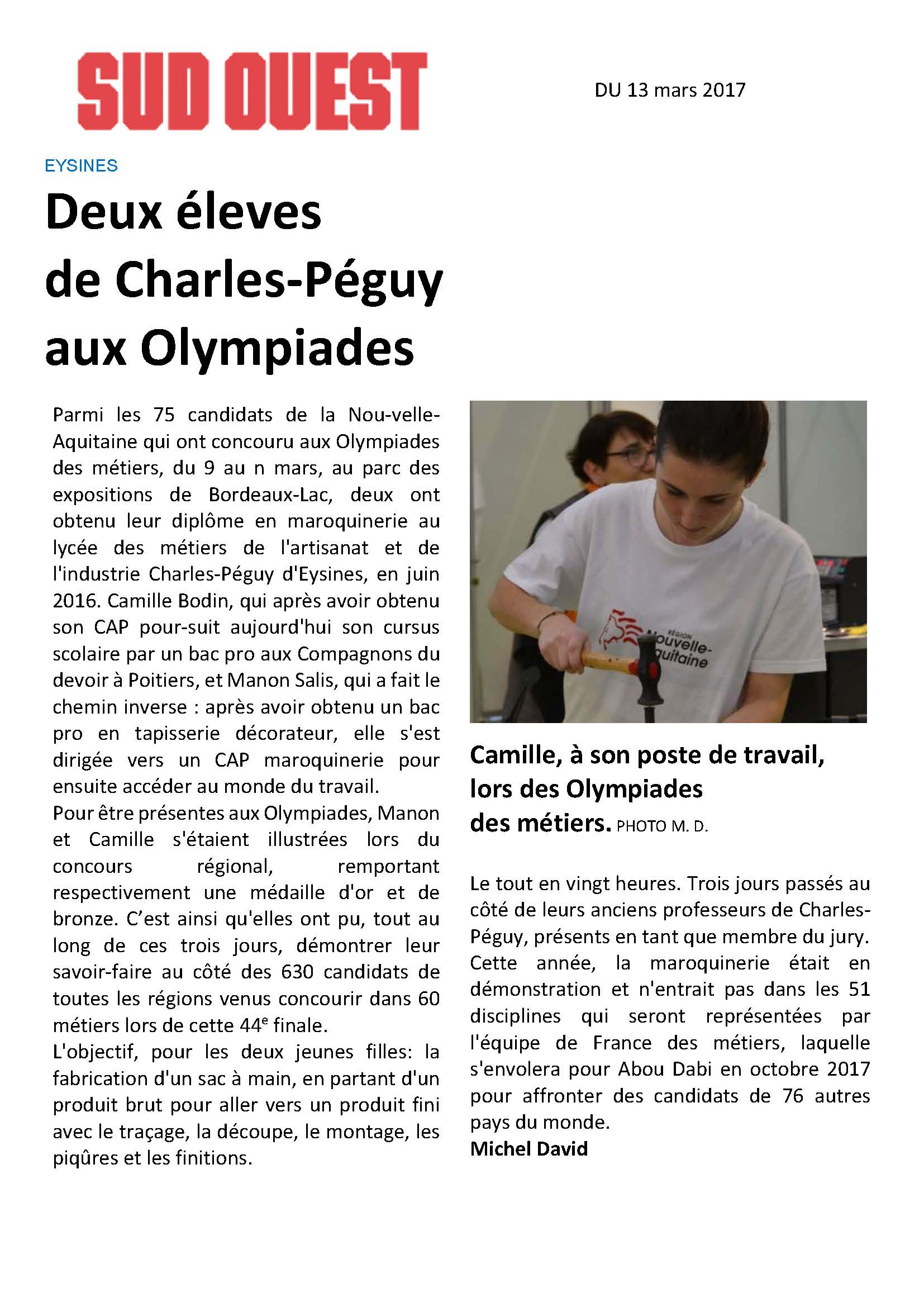 Olympiades Maroquinerie 2017