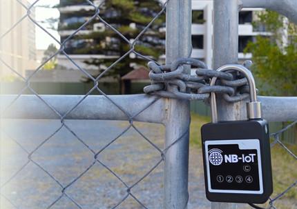 NB IoT smart padlock on gate