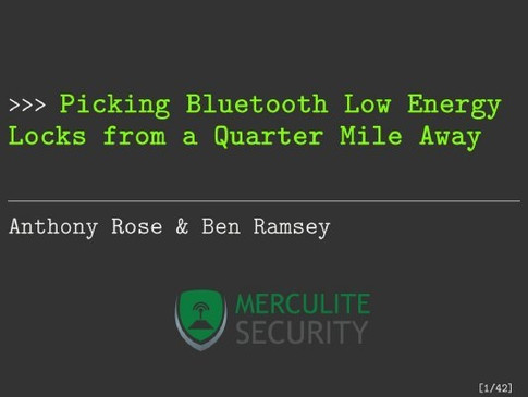 Picking Bluetooth Low Energy Locks a Quarter Mile Away Powerpoint presentation