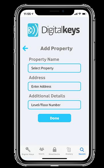 Digital Keys app screenshot - add new property