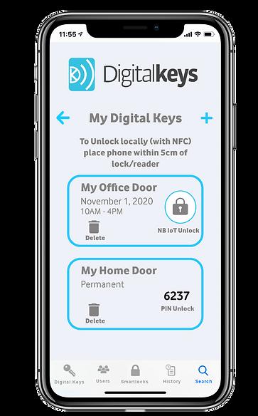 Digital Keys app screenshot - Digital Keys listed and PIN