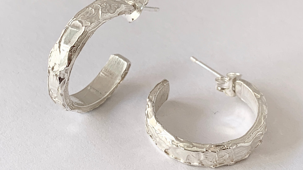 Carved Wide Silver Hoops