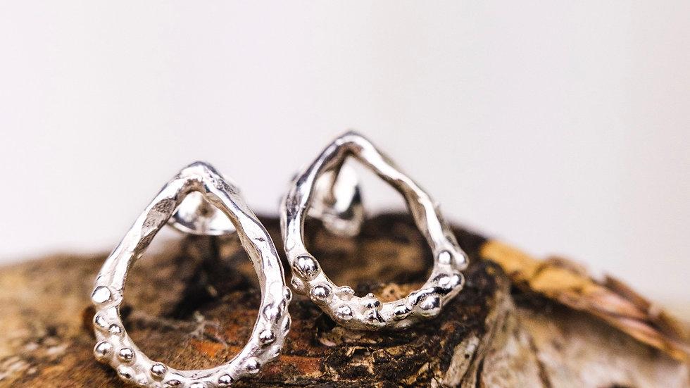 Small Freeform Teardrop granulated Stud earrings