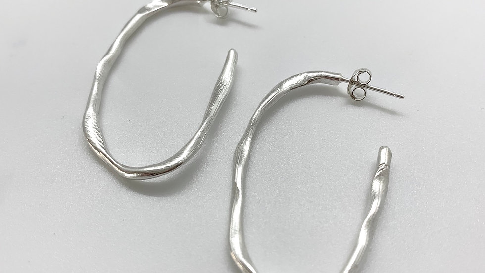 Freeform Statement Drop Hoop Earrings