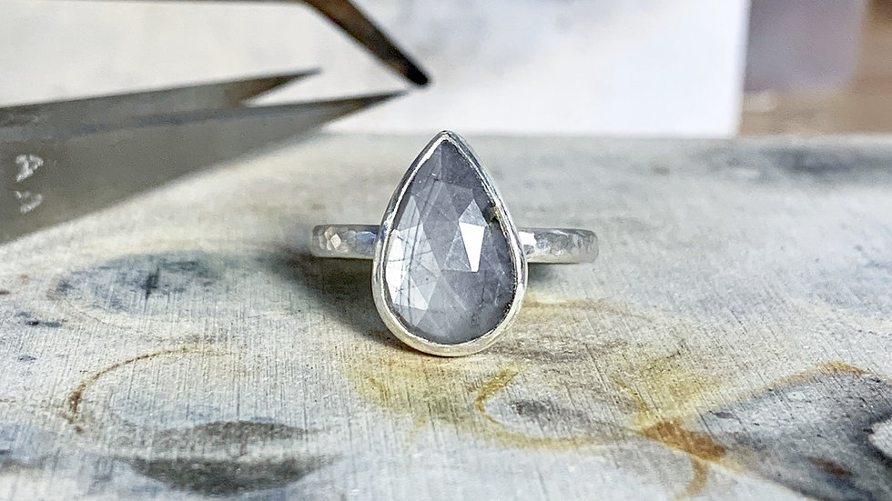 """Elara"" Silver Sapphire Ring"