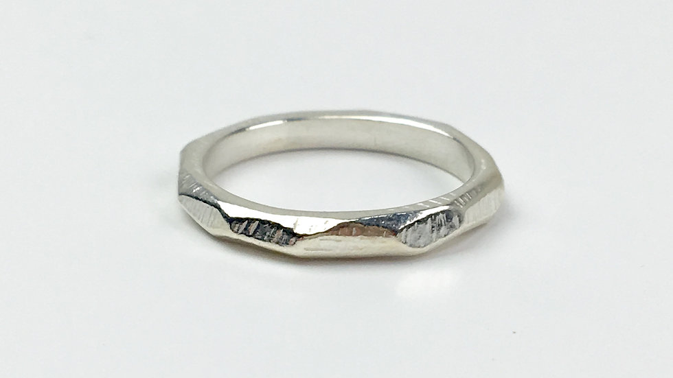 'Facet' Handcarved Stacking ring