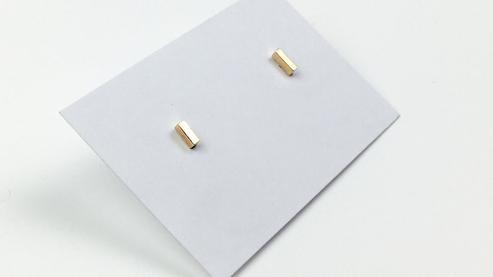 9ct Yellow Gold 'Bar' Stud Earrings