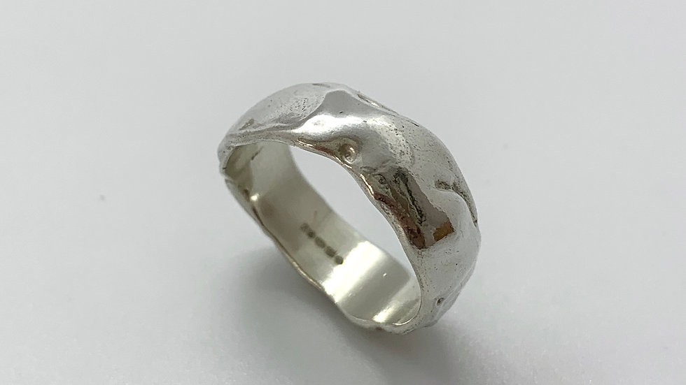 Freeform Wide Silver Ring