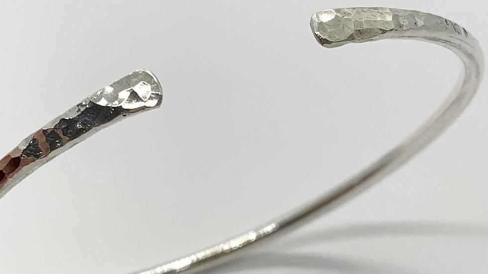Hammered Silver Chunky Cuff Bangle