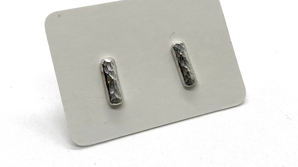 Hammered Silver Bar studs