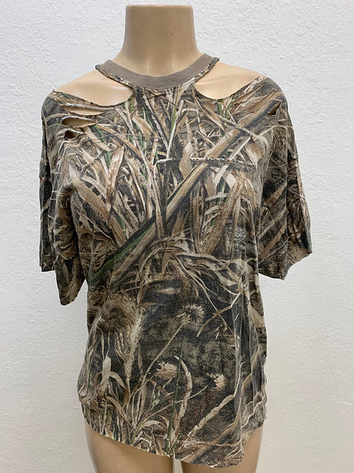 Cute In Camo Off the Shoulder Shirt