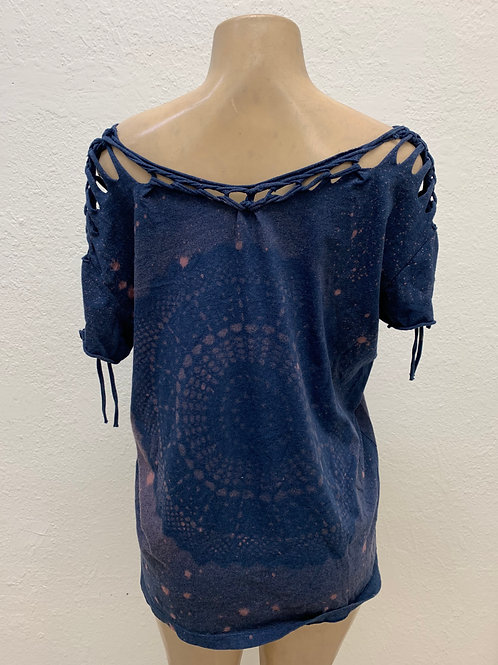 Navy Shoulder Snipped Top XL XXL with Bleached Mandala