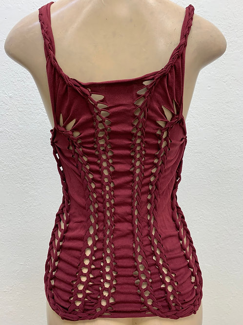 Super Sliced Up Maroon Tank