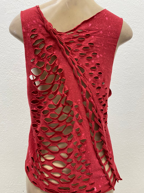 Red Acid Wash Muscle Tank