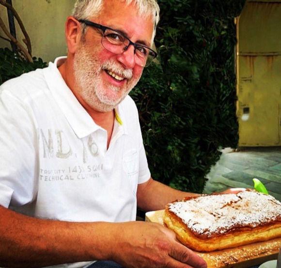 Making traditional Bougatsa-custard pie