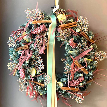 Christmas wreath/ Pink&Mint