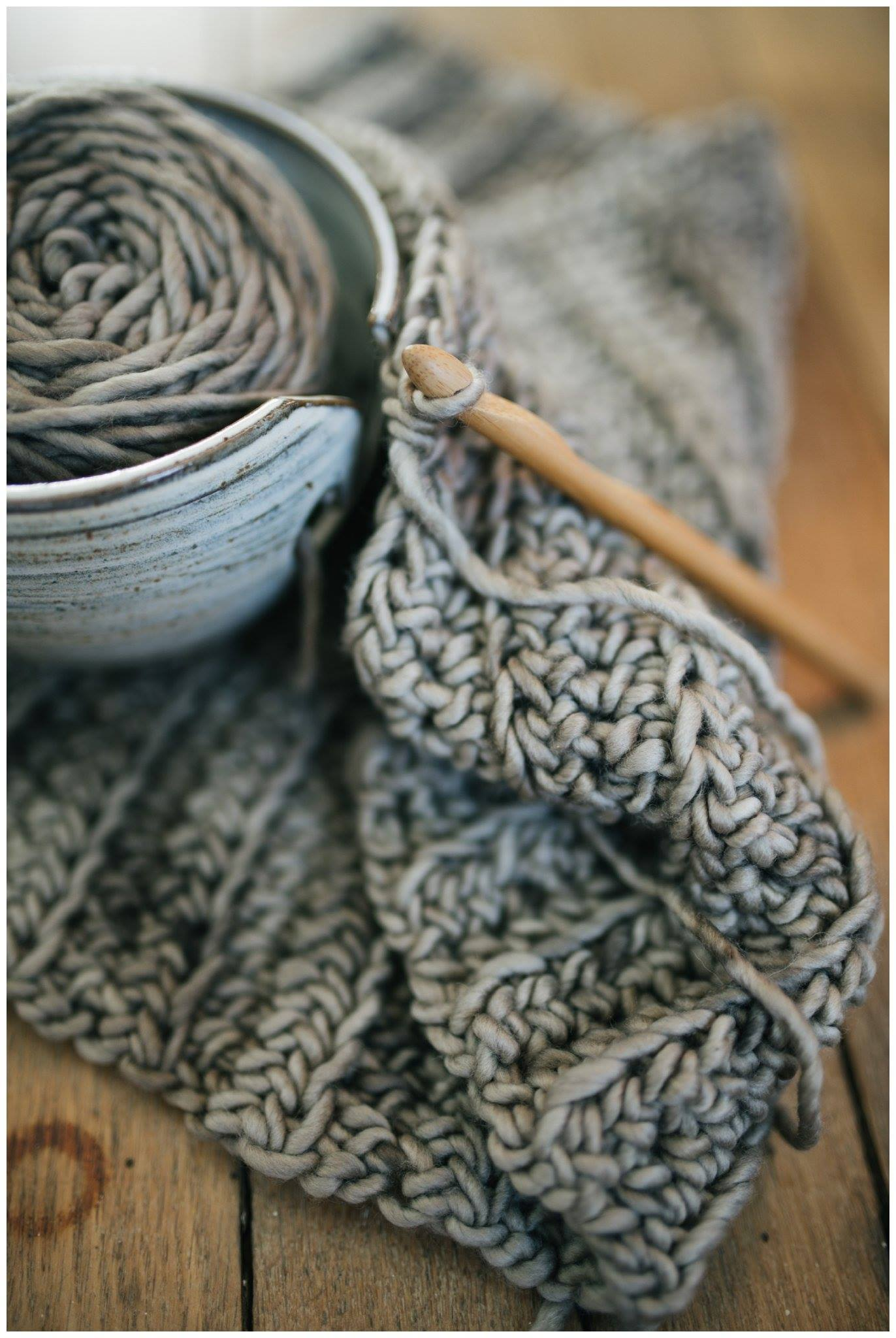 gray-green crocheted yarn