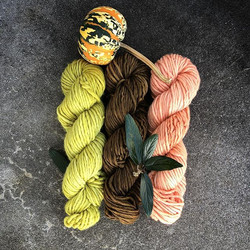 chartreuse brown and pink yarn