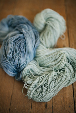 blue and sage green yarn