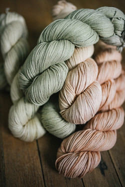 pastel skeins of yarn