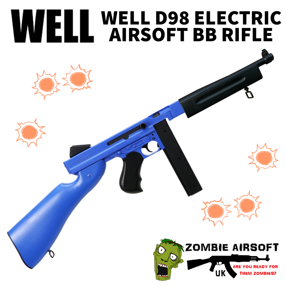 This is the world-famous gangster and WW2 machine gun in full scale. This airsoft BB gun is electric and has a durable gearbox with a selectable semi-auto fire. This airsoft replica gun with a huge 1000 round drum mag or a 40 round stick mag. It shoots at around 250 FPS using Good quality 0.20g pellets at a range of 40 meters. It also has a working safety and an adjustable rear sight, the hop-up system will increase your shooting accuracy.
