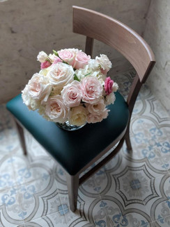 chair. flowers.