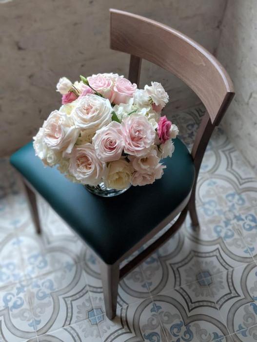 chair. flowers.