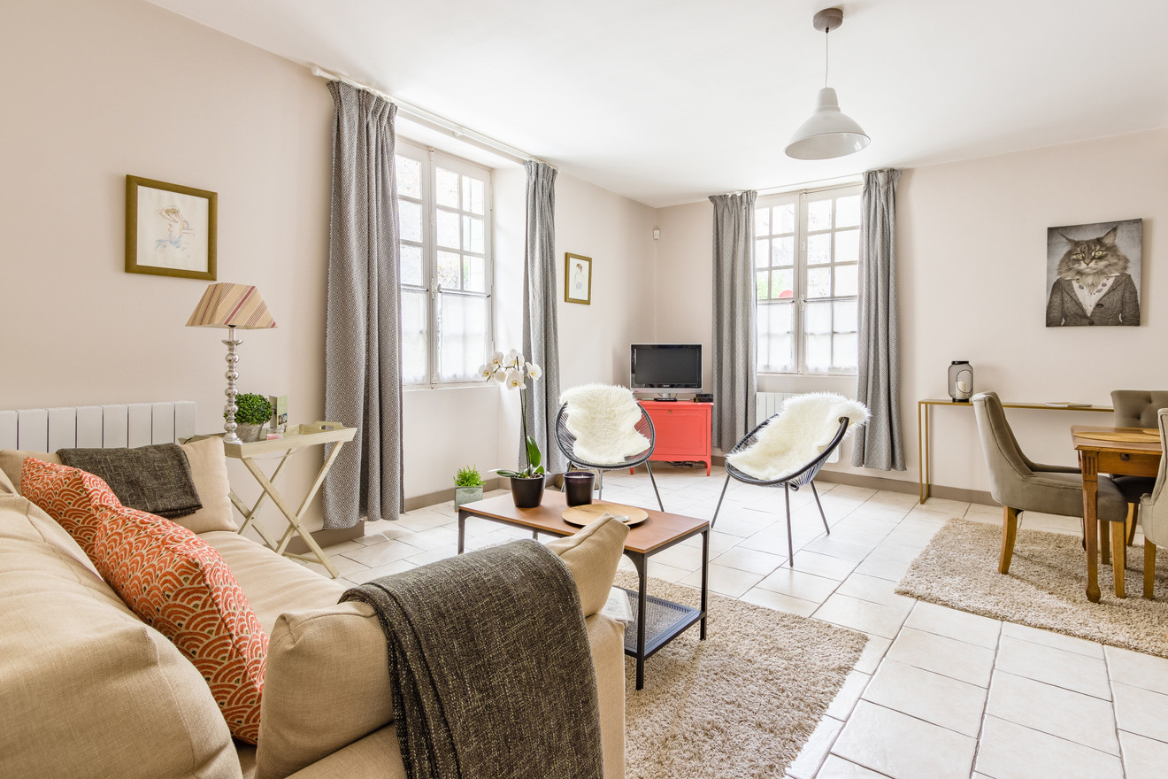 2 people apartment airbnb, hyper center of Amboise Loire Valley with view on the chateau castle, near Chenonceau and Chambord _living room 1