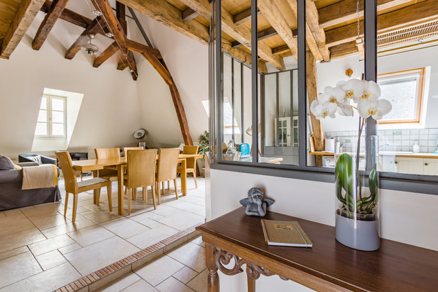 6 people apartment airbnb, hyper center of Amboise Loire Valley with view on the chateau castle, near Chenonceau and Chambord _livingroom1