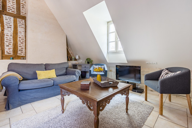 6 people apartment airbnb, hyper center of Amboise Loire Valley with view on the chateau castle, near Chenonceau and Chambord _living room 3