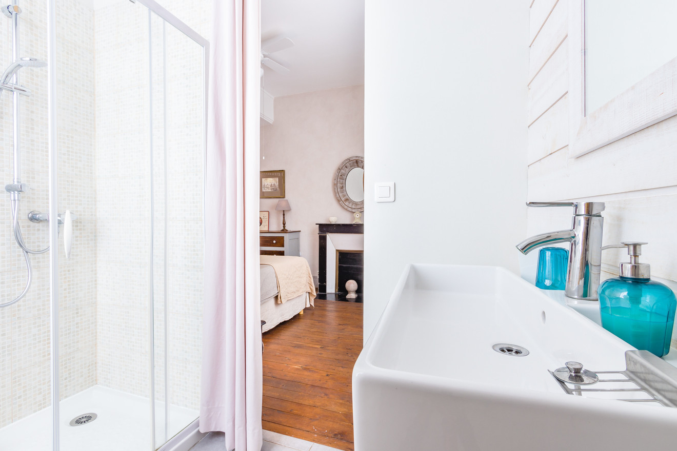 5 people apartment airbnb, hyper center of Amboise Loire Valley with view on the chateau castle, near Chenonceau and Chambord _ensuite bathroom
