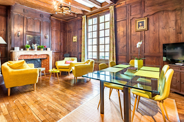5 people apartment airbnb, hyper center of Amboise Loire Valley with view on the chateau castle, near Chenonceau and Chambord _livingroom 1