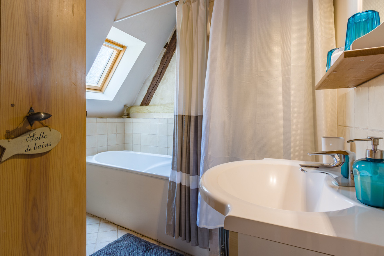 6 people apartment airbnb, hyper center of Amboise Loire Valley with view on the chateau castle, near Chenonceau and Chambord _bathroom