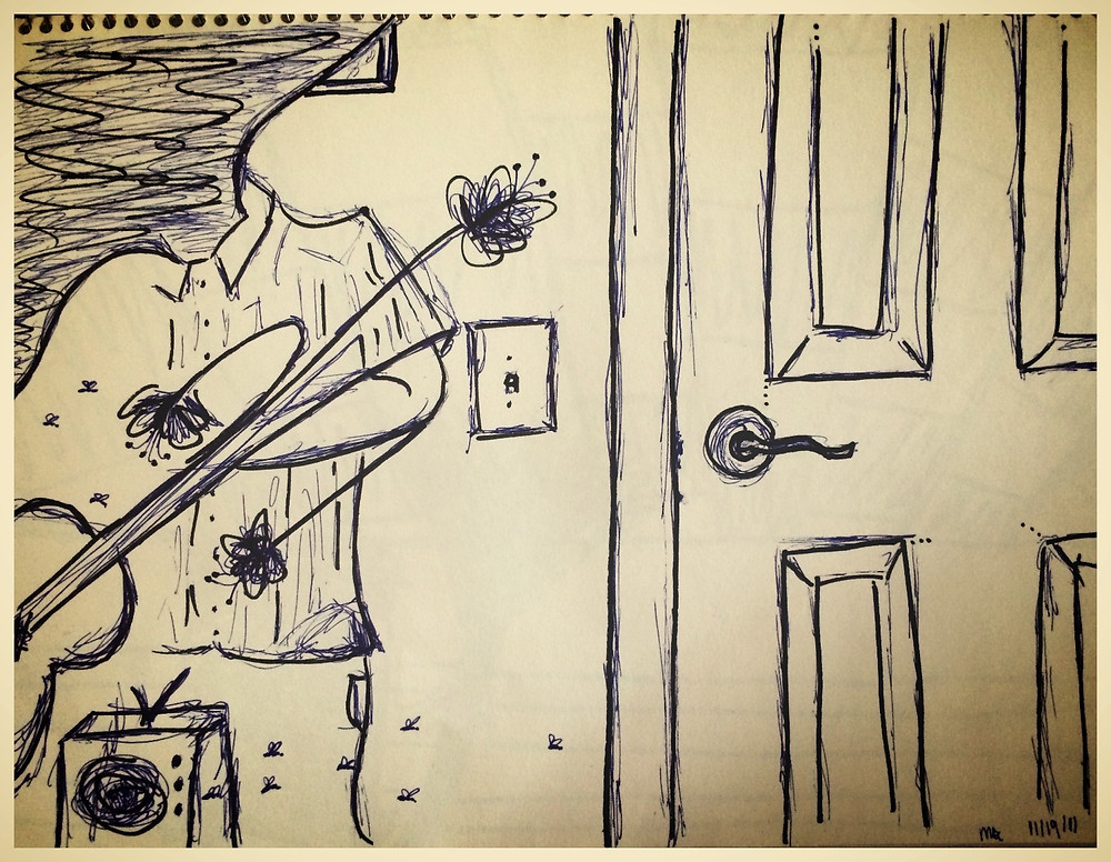 """A sketch by Mallory of Scott while recording the first version of """"Cicada"""" in 2011."""