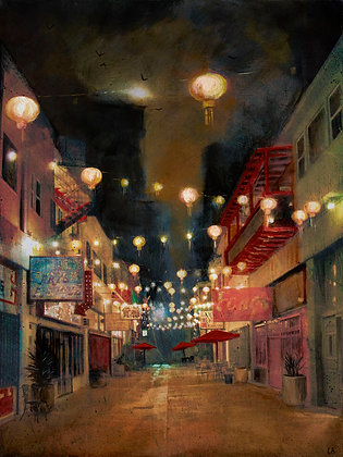 "Lights on Chung King - 16x20"" - Signed"
