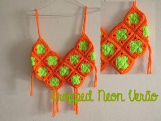 Passo a Passo - Cropped Neon de Crochê