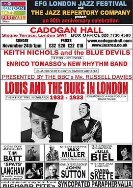 Jazz Repertory's Cadogan Hall concerts in London, live music at jazz festivals and events across the UK and beyond.  Featuring the best jazz musicians playing all your favourite tunes, from Benny Goodman to Duke Ellington and more. Louis & Duke in London