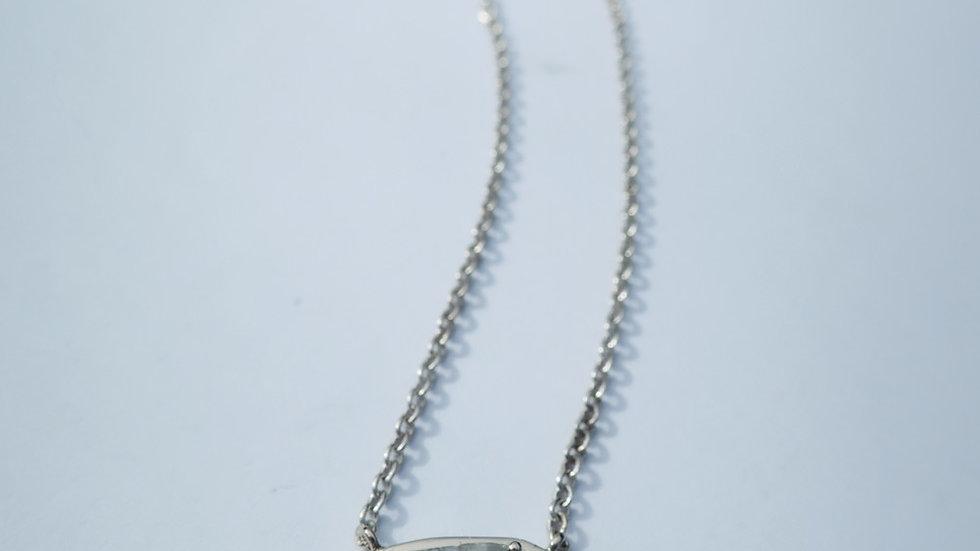 Salt and pepper diamond slice necklace