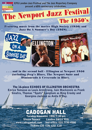 One of The Jazz Repertory Company's Cadogan Hall concerts in London.  We celebrate 60 years of the famous Newport Jazz Festival, concentrating on the 1950s and the great jazz musicians such as Duke Ellington and Louis Armstrong who performed there.