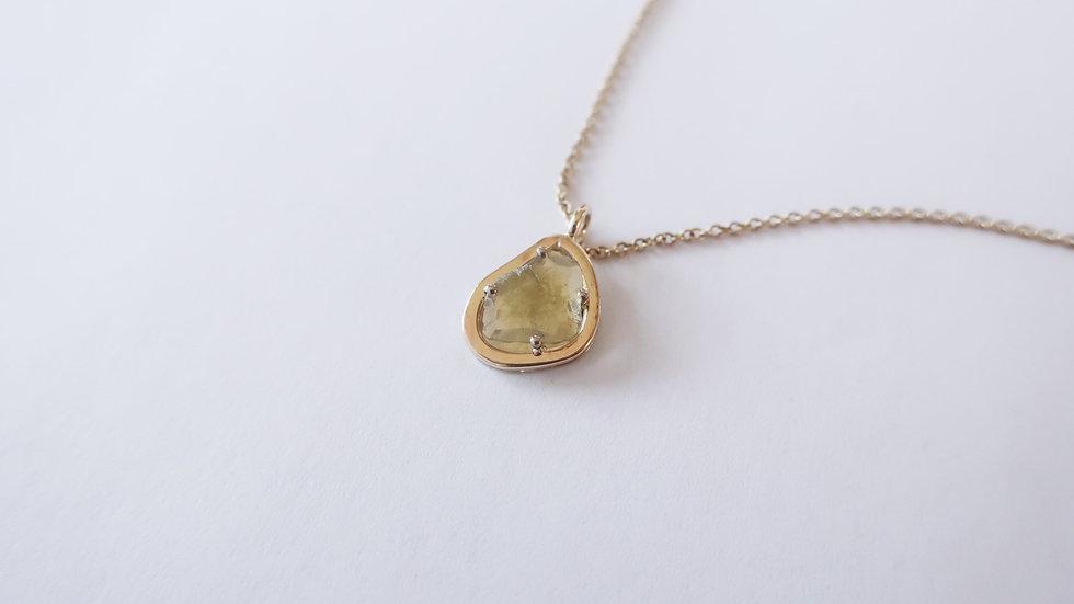 Yellow diamond slice pendant
