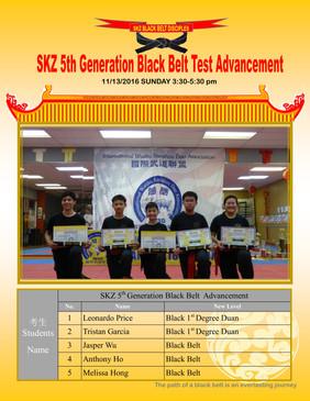 SKZ 5th Generation Black Belt Test Advancement
