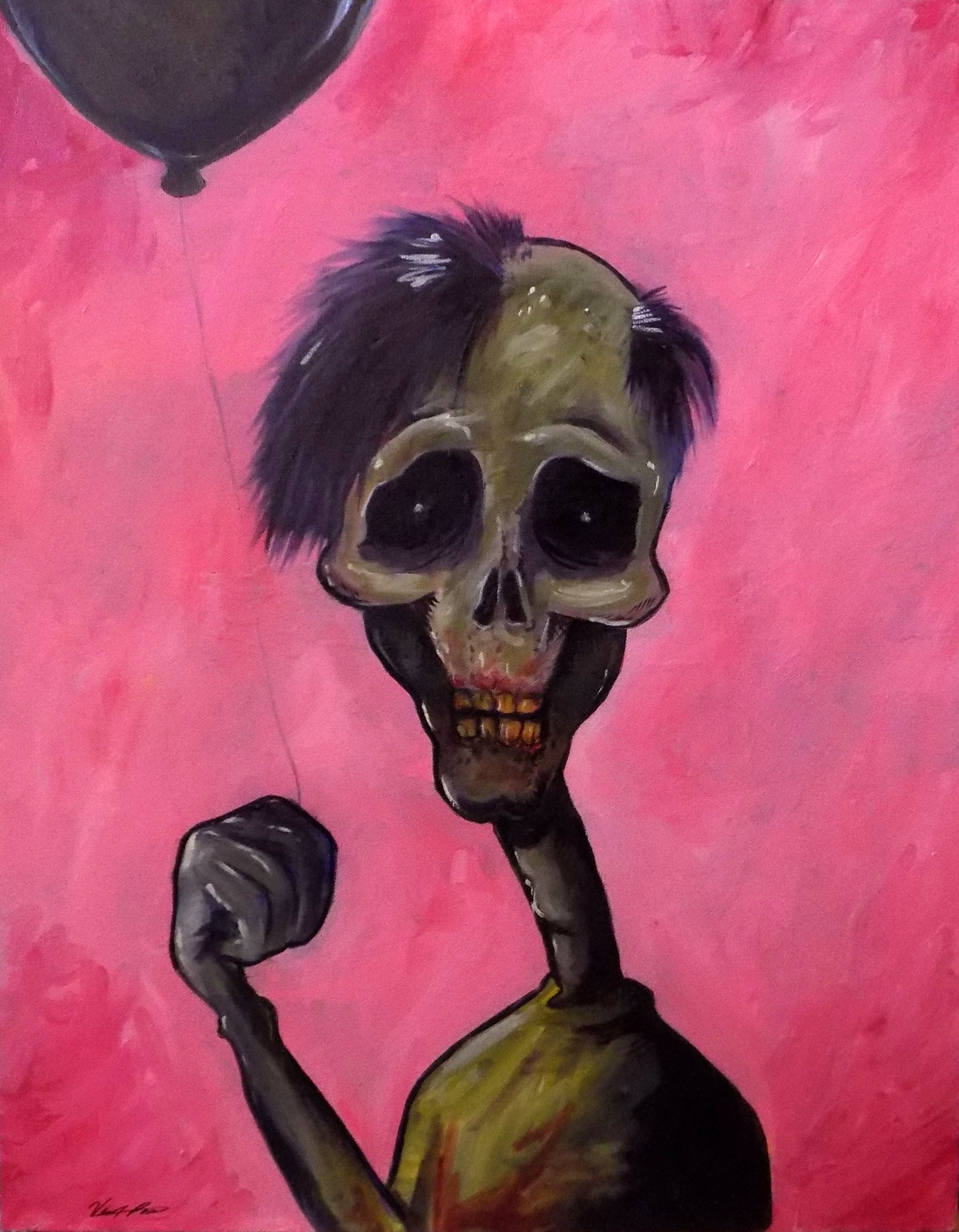 Creep with the Ballon-oil on canvas-20in by 18 in-2016- $250