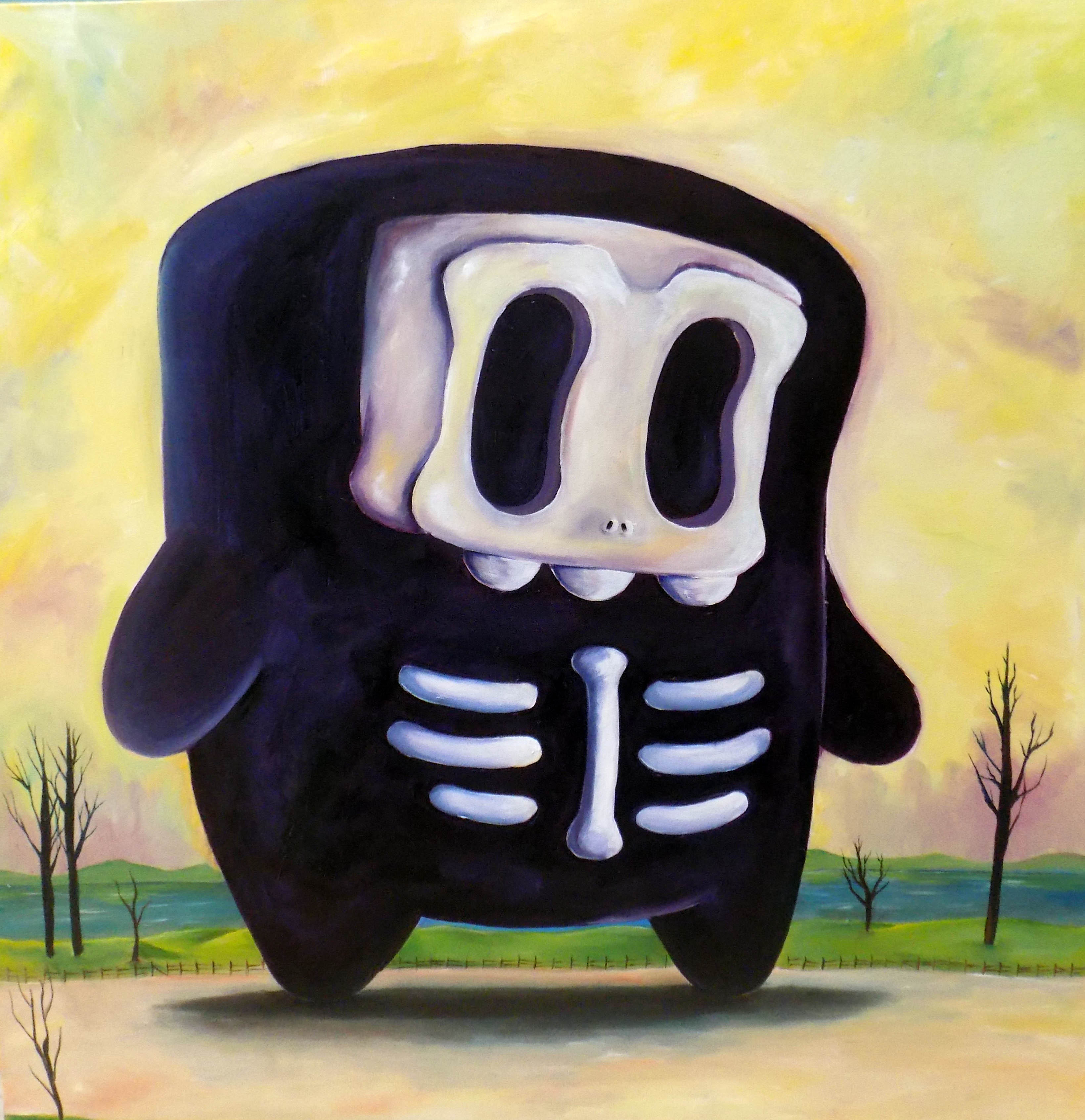 Skull Boy Oil on canvas-2018 3 ft by 3 f
