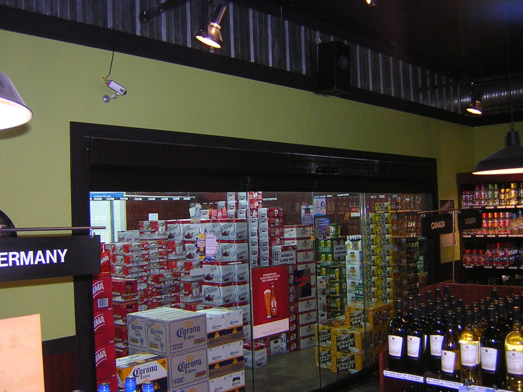 All glass bipart slider Liquor Store walk in cooler