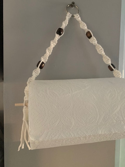 Macrame kitchen roll holder