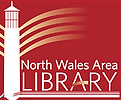 The North Wales Area Library Logo: A lighthouse next to the library name.